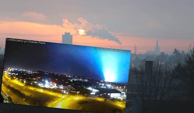 Szczecin. Niespotykane zjawisko na niebie. Elektrownia wyjaśnia: Wszystko przez kunę [WIDEO]