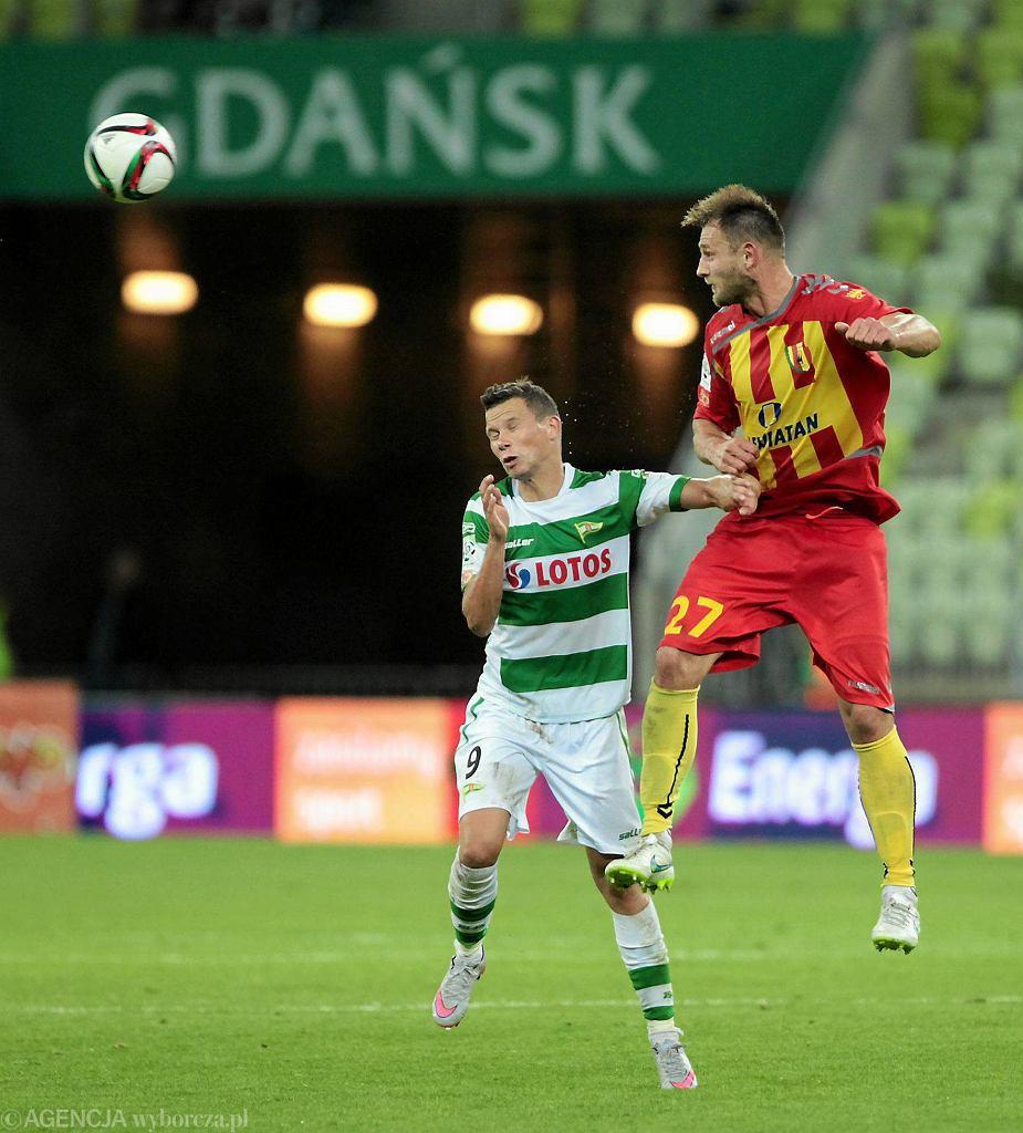 Lechia - Korona 0:0. Z lewej Michał Mak