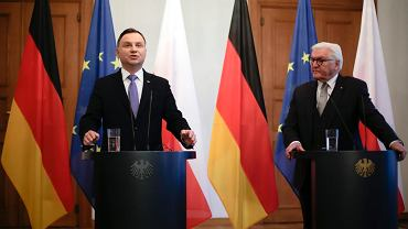 Prezydent RP Andrzej Duda i prezydent Niemiec Frank-Walter Steinmeier podczas wspólnej konferencji w Berlinie, 23 października 2018.