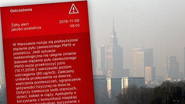 Ratusz ostrzega przed smogiem w Warszawie
