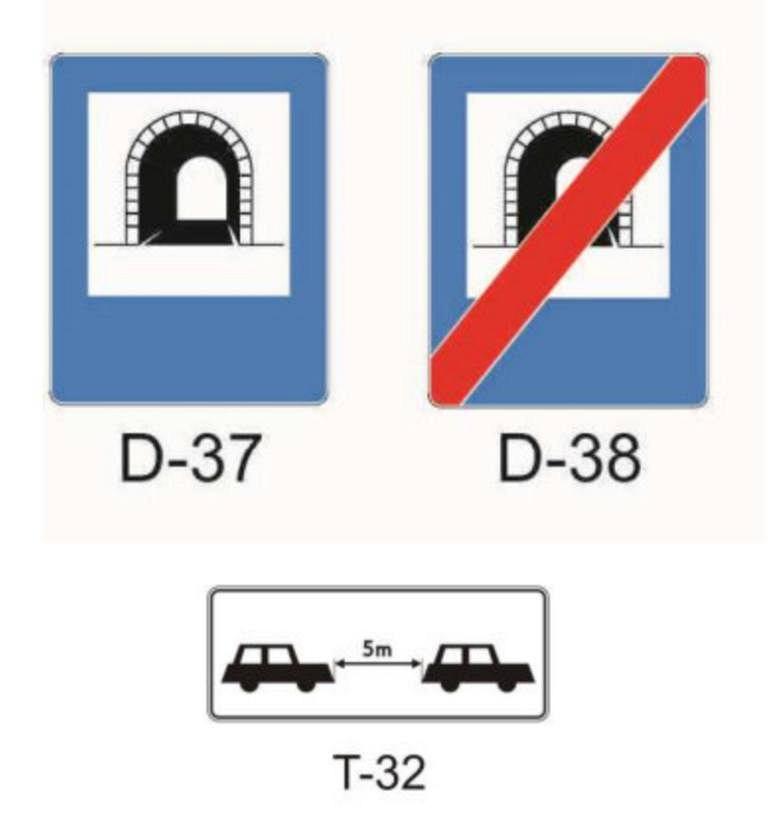 Znak dot. minimalnej odległości w tunelu