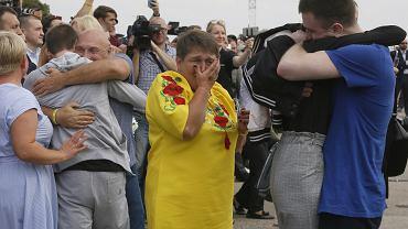 7.09.2019, lotnisko Boryspol pod Kijowem, powitanie powracających z rosyjskich więzień Ukraińców.