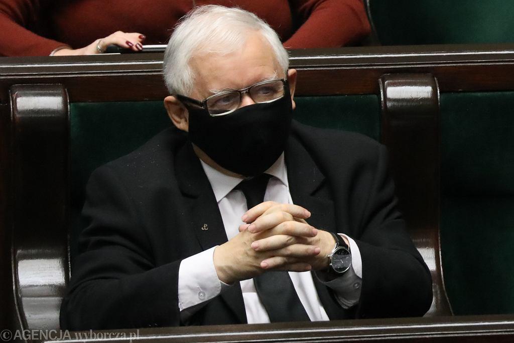 28.10.2020 r., Warszawa , ul. Wiejska, Sejm. Prezes PiS Jarosław Kaczyński podczas debaty i głosowań