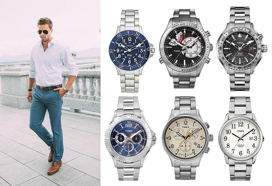 Kolaż srebrne zegarki Timex