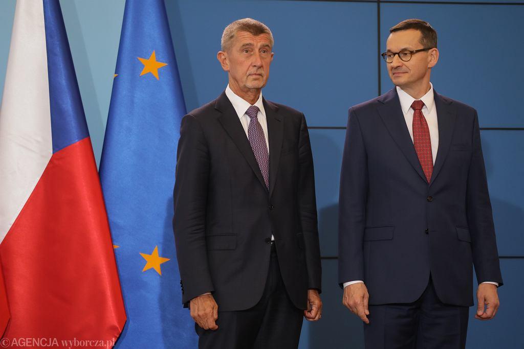 Premier Czech Andrej Babis i premier Mateusz Morawiecki podczas konferencji prasowej