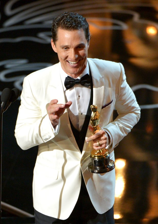 "Matthew McConaughey accepts the award for best actor in a leading role for ""Dallas Buyers Club"" during the Oscars at the Dolby Theatre on Sunday, March 2, 2014, in Los Angeles.  (Photo by John Shearer/Invision/AP)"