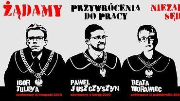 Plakat Stowarzyszenia Sędziów Polskich Iustitia - protest w obronie zawieszonych sędziów