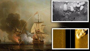 Obraz ukazujący ostatnie chwile galeonu San Jose i podwodne zdjęcia odnalezionego wraku