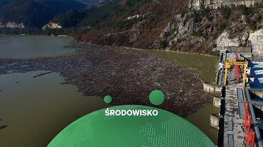 Wyspa śmieci na zalewie rzeki Drina w Bośni i Hercegowinie
