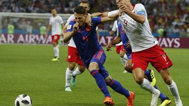 Santiago Arias i Robert Lewandowski. Mecz Polska-Kolumbia