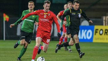 Jakub Sangowski (Zagłębie Sosnowiec) podczas meczu Fortuna 1. Ligi. Źródło: Twitter