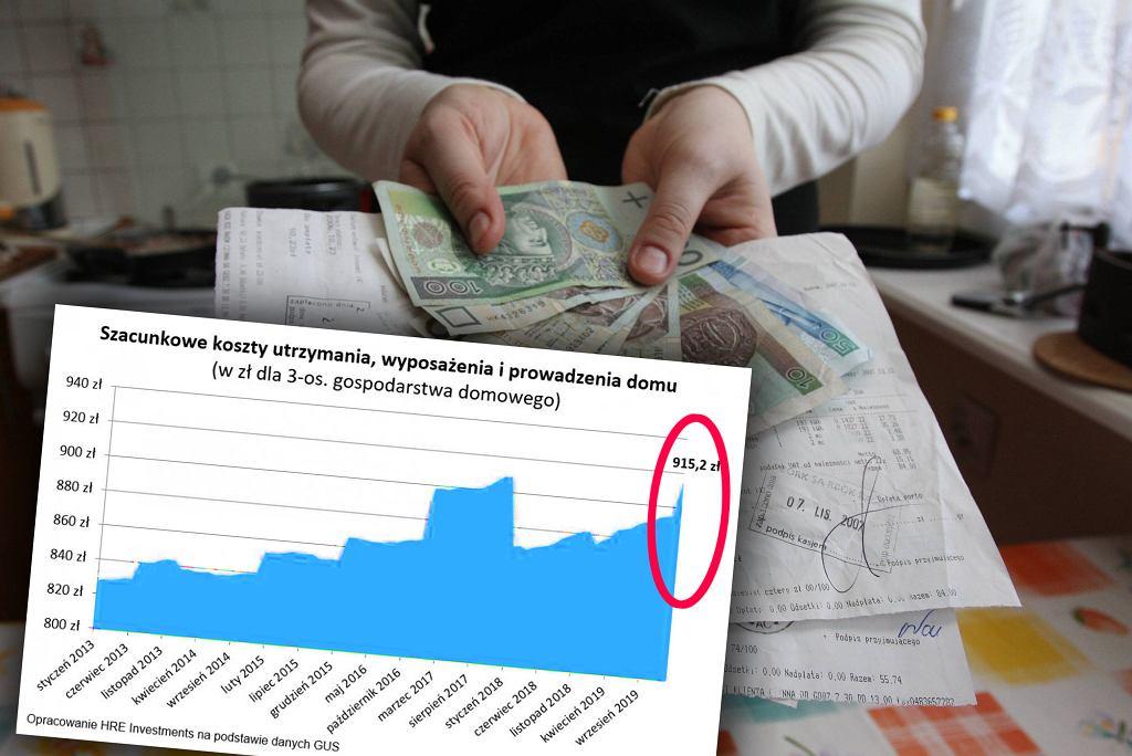 Szacunkowe koszty utrzymania, wyposażenia i prowadzenia domu dla statystycznej trzyosobowej rodziny
