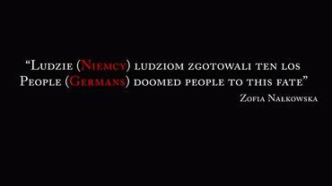 Fragment filmu IPN z przerobionym cytatem z Zofii Nałkowskiej