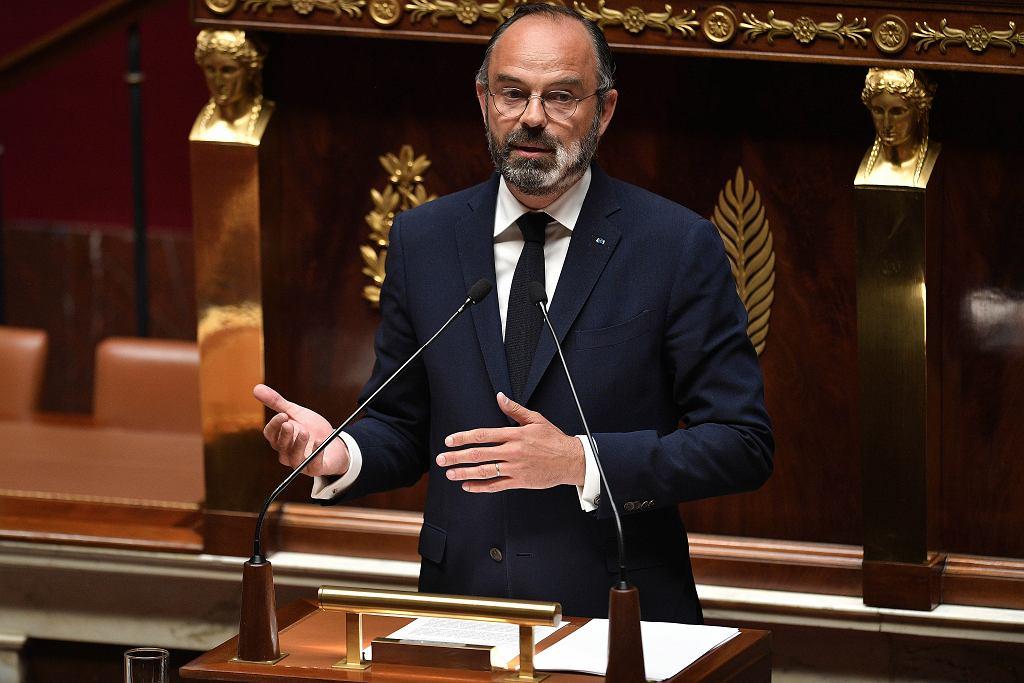 Premier Francji Edouard Philippe zapowiadający stopniowe łagodzenie restrykcji związanych z epidemią koronawirusa