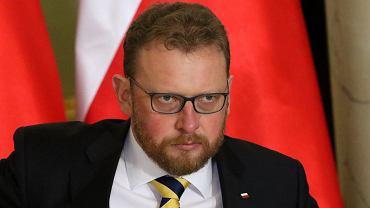 8.01.2018, nowo mianowany minister zdrowia Łukasz Szumowski podczas uroczystości rekonstrukcji rządu.
