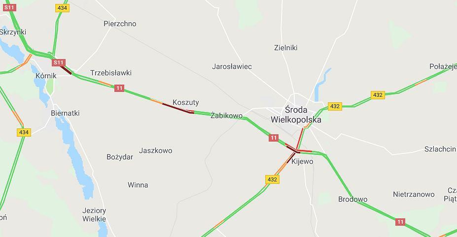Wypadek na DK 11 koło Środy Wielkopolskiej. Dwie osoby zostały ranne