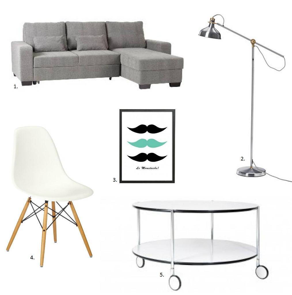 sofa narożna, lampa podłogowa, plakat, krzesło, stolik kawowy