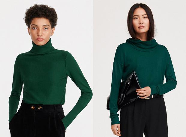 Swetry w kolorze butelkowej zieleni