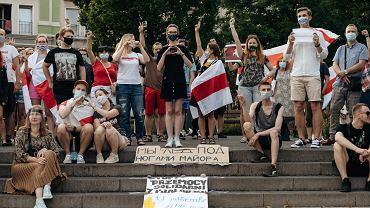 Pokojowe zgromadzenie osób wspierających protestujących w Białorusi przeciwko fałszowaniu wyników wyborów prezydenckich