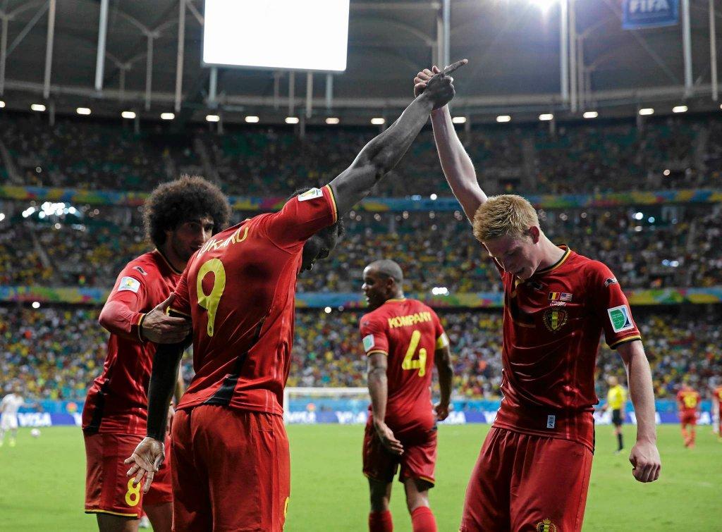 Radość Belgów po golu Romelu Lukaku w meczu z USA