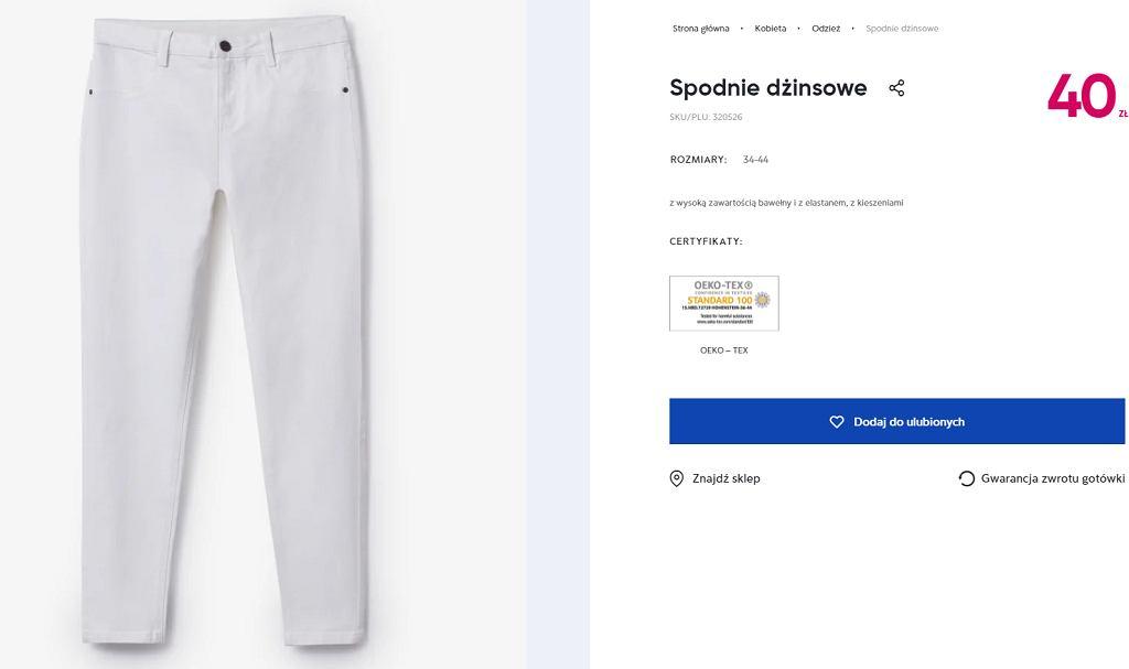 Białe spodnie Pepco