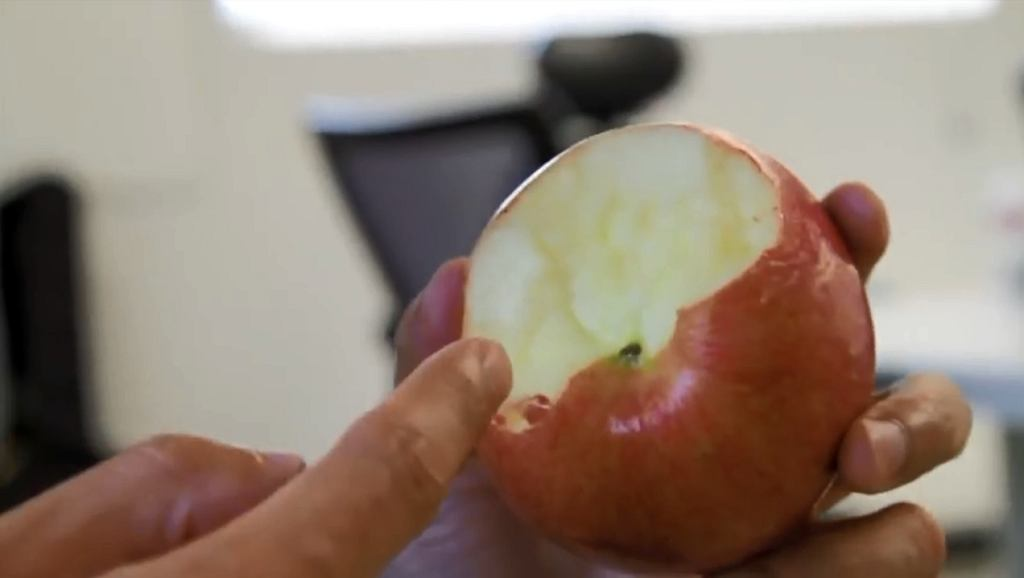 Zjadanie jabłka od dołu sprawia, że marnuje się mniej owocu