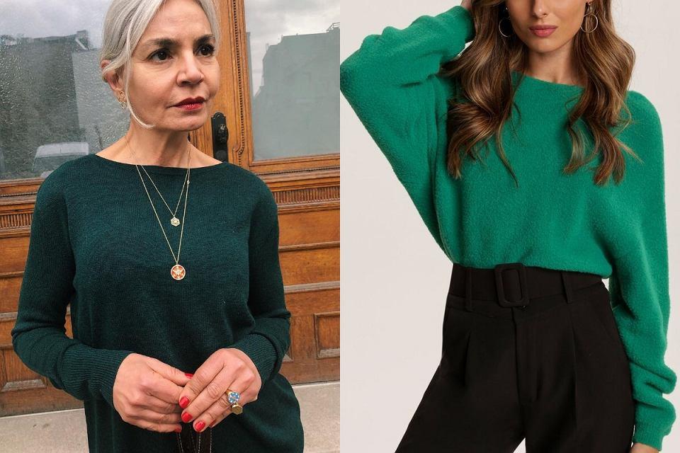 Sweter w kolorze butelkowej zieleni to modowy pewniak