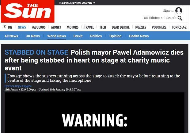 The Sun o śmierci Adamowicza