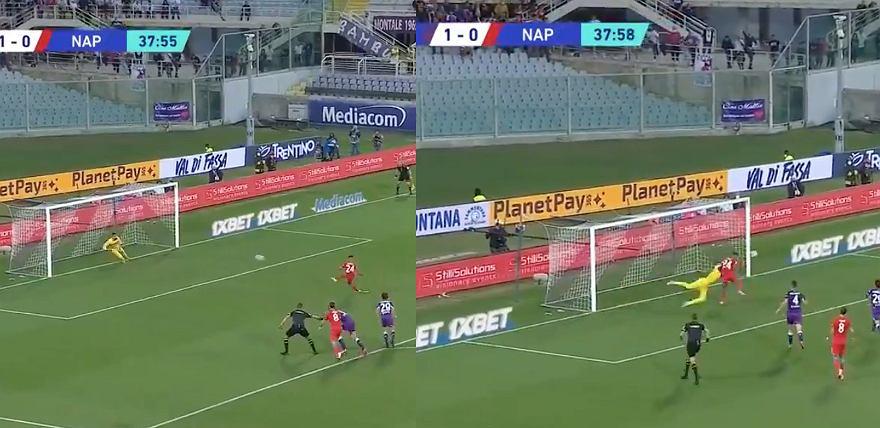 Bartłomiej Drągowski: Fiorentina - SSC Napoli (1:2). Obrona rzutu karnego. Źródło: twitter