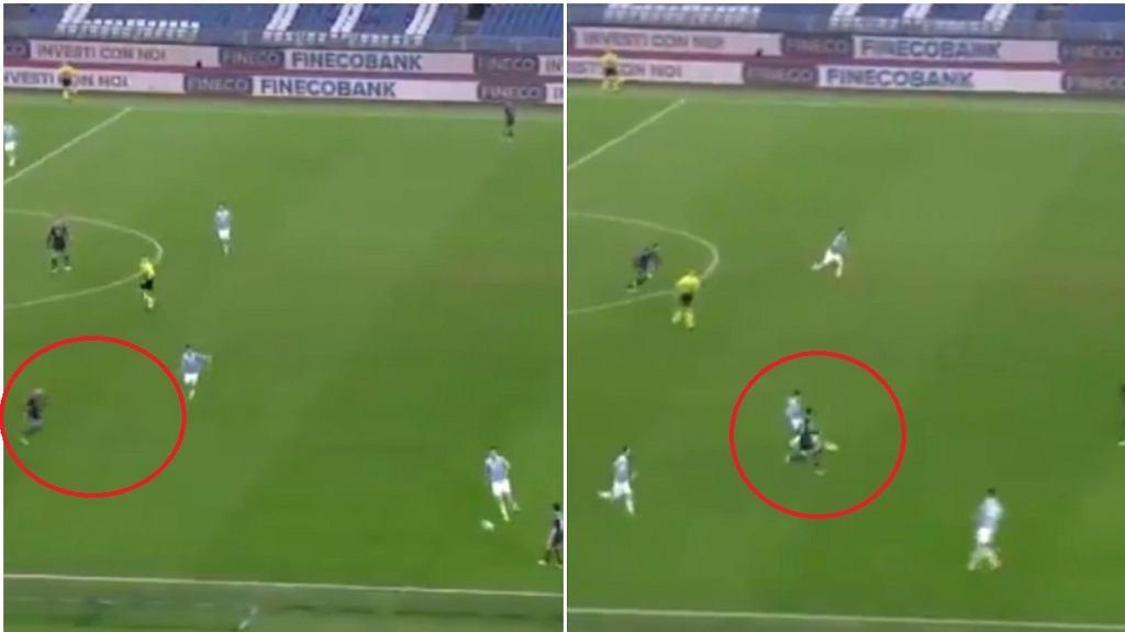 Fatalne podanie Mario Ruiego do Piotra Zielińskiego, po którym padła bramka dla Lazio