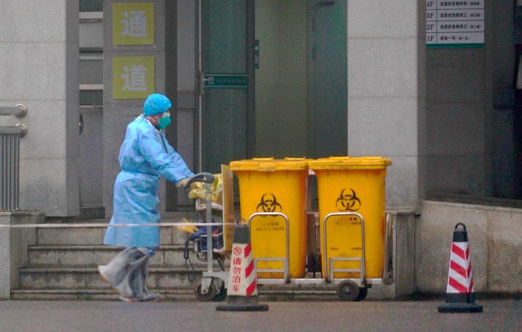 Odpady w szpitalu w Wuhan