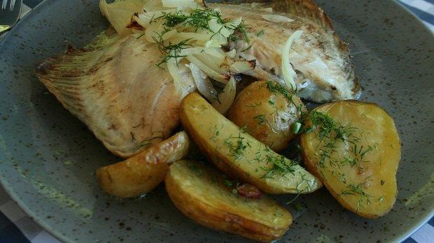 Turbot z ziemniakami, Restauracja Bulaj w Sopocie
