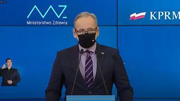 Konferencja ministra zdrowia Adama Niedzielskiego. O obostrzeniach