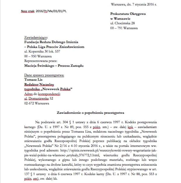 Pismo do prokuratury