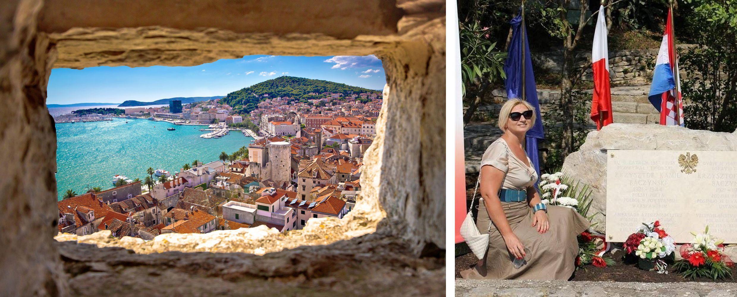 Monika mieszka z mężem w Splicie (for. shutterstock.com). Na zdjęciu obok - przy płycie Baczyńskiego postawionej przez towarzystwo Polonez (fot archiwum prywatne)