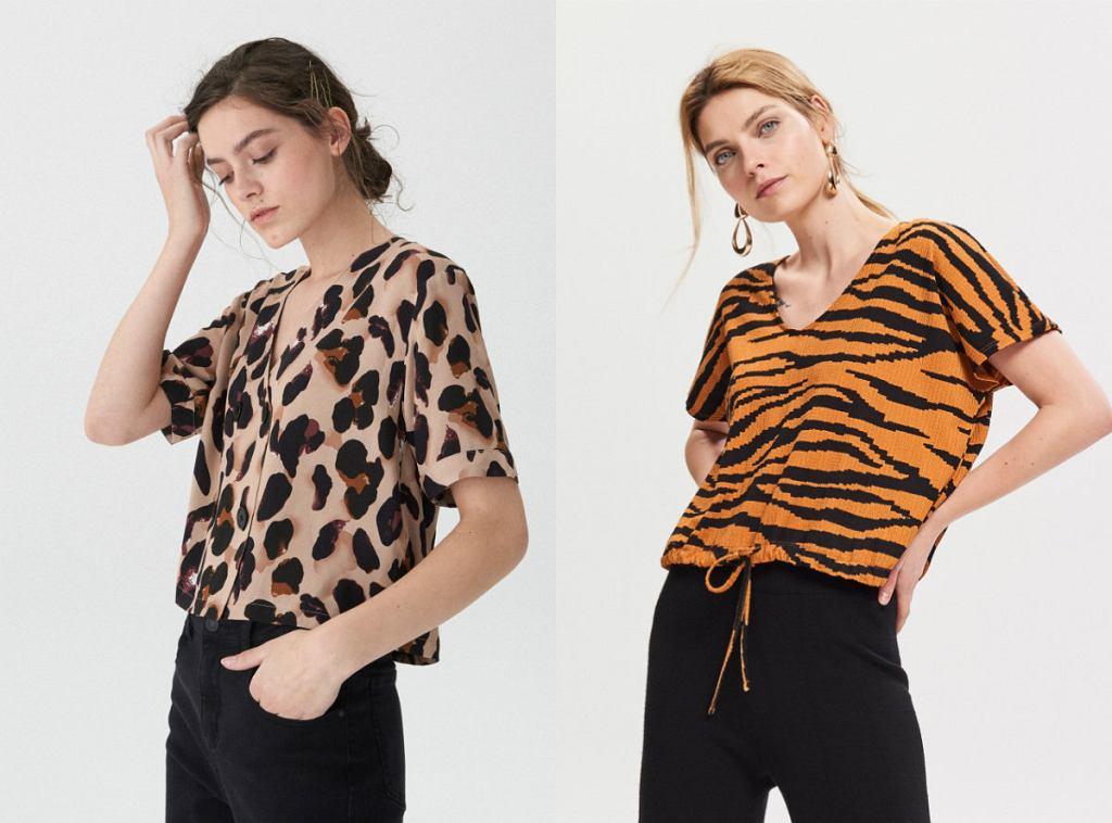 bluzki w modny, zwierzęcy wzór, idealne na lato