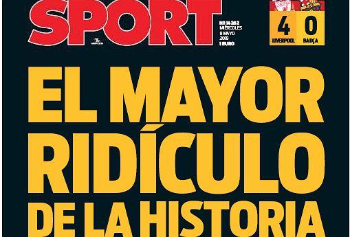 Okładka Sportu po meczu Liverpool - Barcelona