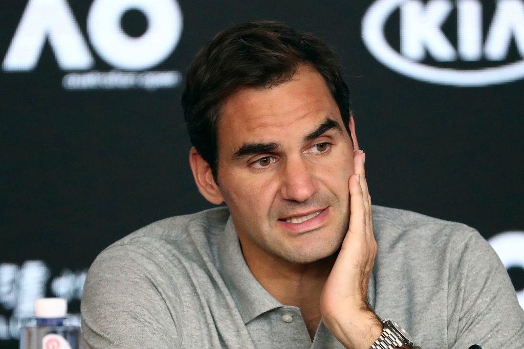 Roger Federer podczas konferencji prasowej po przegranej w półfinale Australian Open