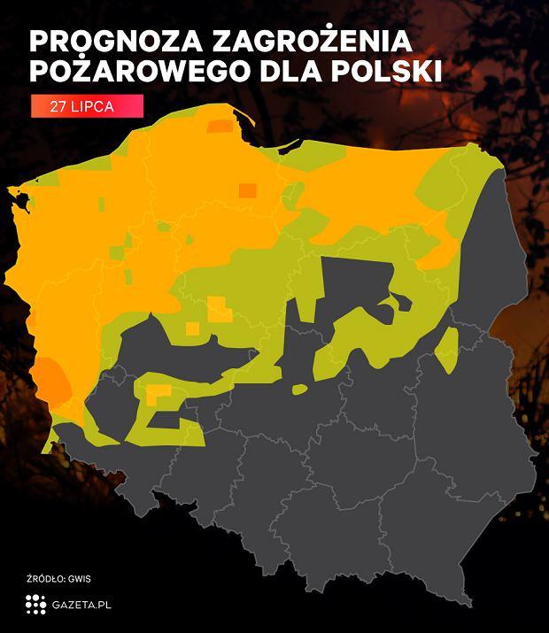 Zagrożenie wystąpienia pożarów w Polsce - 27 lipca 2018
