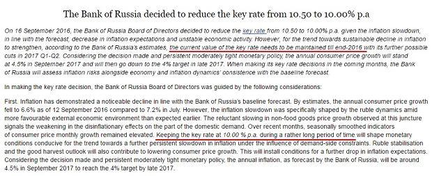 Fragment komunikatu Bank of Russia