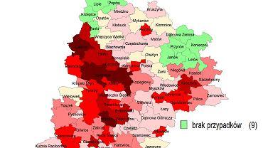 Mapa zakażeń w woj. śląskim (stan na 18 maja 2020)