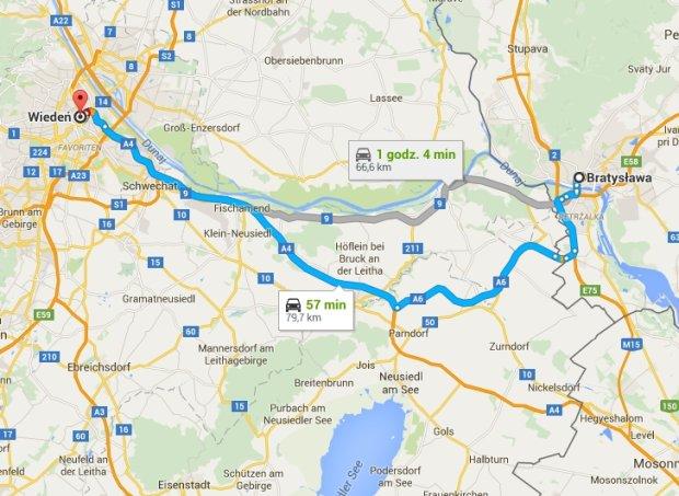 Trasa z Bratysławy do Wiednia