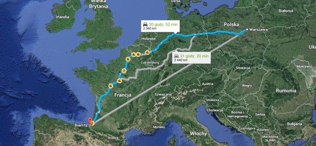 Trasa z Warszawy do Biarritz