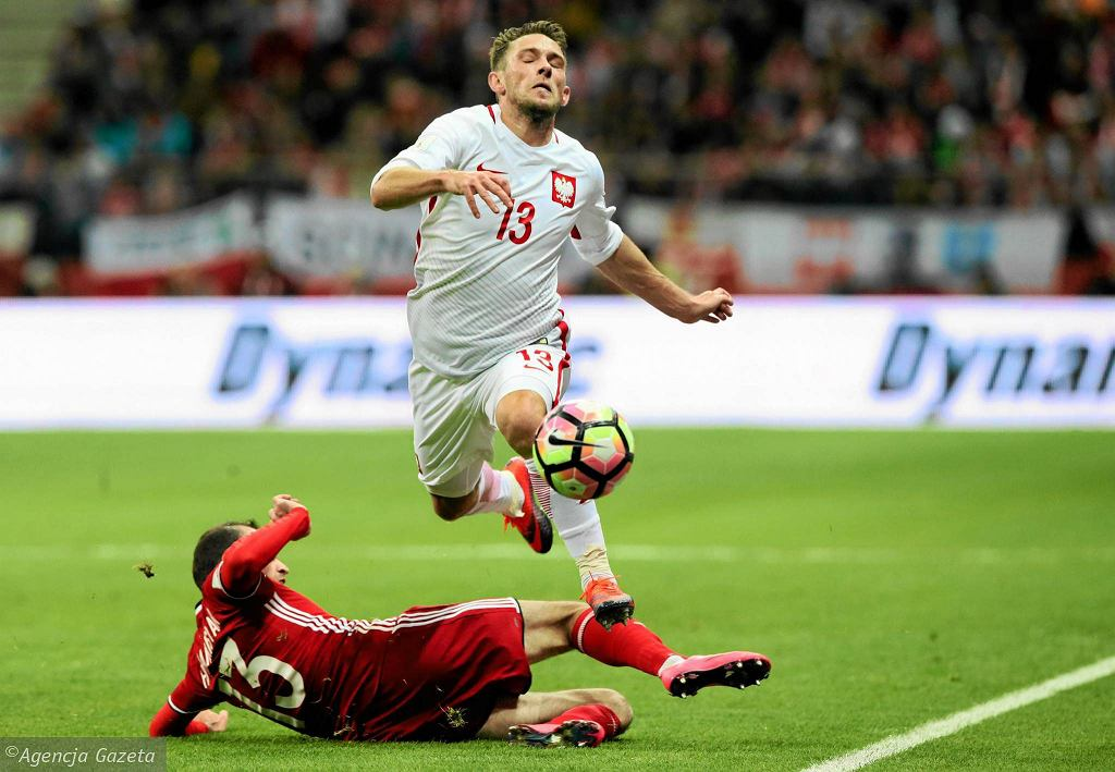 Maciej Rybus na meczu z Armenią