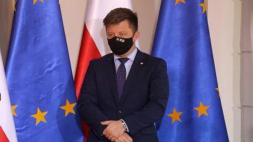 Szef Kancelarii Premiera, minister Michał Dworczyk podczas konferencji prasowej. Wrocław, 24 maja 2021