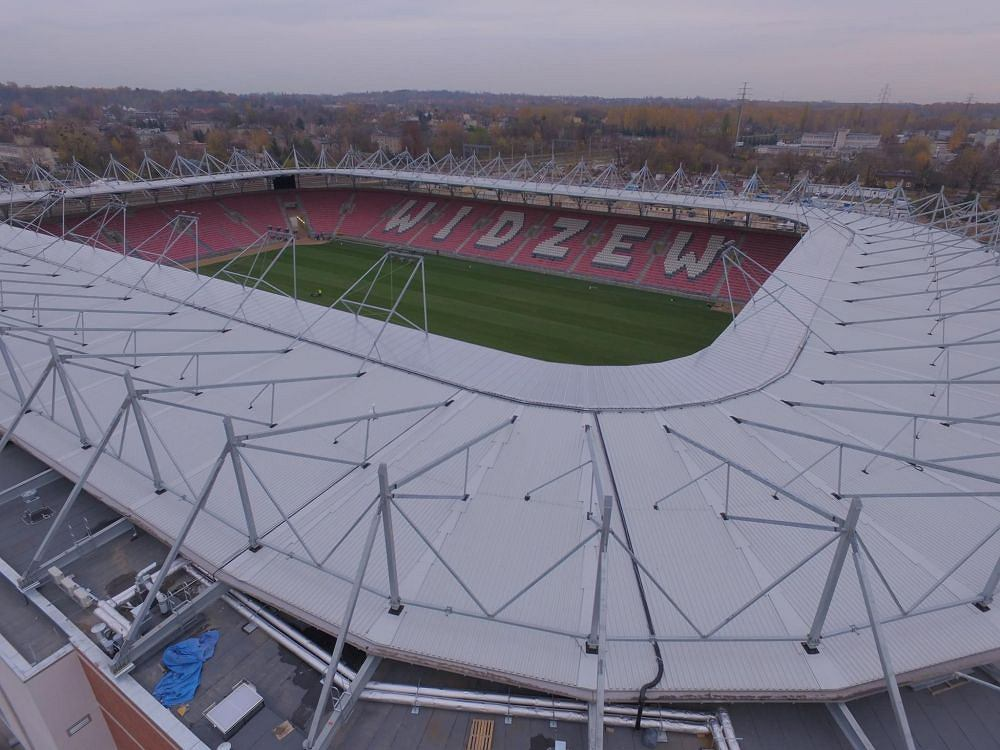 Stadion Widzewa przy al. Piłsudskiego 138 budowany przez firmę Mosty Łódź
