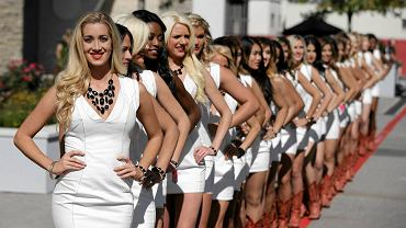 The Formula One 'Grid Girls' pose after qualifications for the Formula One