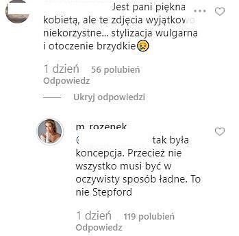 Komentarze pod sesją zdjęciową Małgorzaty Rozenk