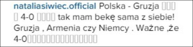 Natalia Siwiec komentuje na Instagramie
