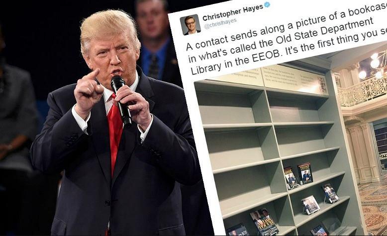 Donald Trump i wpis z regałem, z którego zniknęły książki